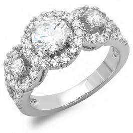 2.00 CT Platinum Plated Ladies Round Cubic Zirconia CZ Engagement Ring (Available in size 6 7 8)