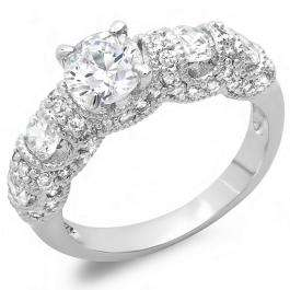 1.50 CT Platinum Plated Ladies Round Cubic Zirconia CZ Engagement Bridal Ring (Available in size 6 7 8)