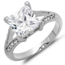 2.50 CT Platinum Plated Ladies Princess & Round Cut White Cubic Zirconia CZ Engagement Bridal Ring (Available in size 6 7 8)