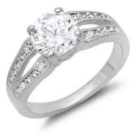 1.50 CT Platinum Plated Ladies Round Cut White Cubic Zirconia CZ Engagement Bridal Ring (Available in size 6 7 8)