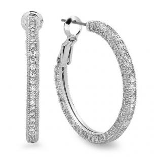2.50 Carat (ctw) Platinum Plated Base Metal Round Cubic Zirconia CZ Ladies Hoop Earrings