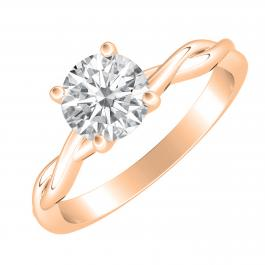 7 mm Round Moissanite Twisted Swirl Solitaire Engagement Ring, 18K Rose Gold