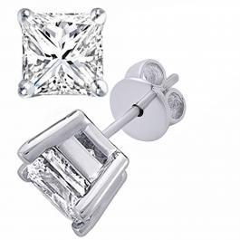 Princess Moissanite Ladies Solitaire Fashion Stud Earrings, 18K White Gold