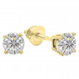 Charles and Colvard Forever Classic 4.5 mm Round Moissanite Solitaire Stud Earrings, 10K Yellow Gold