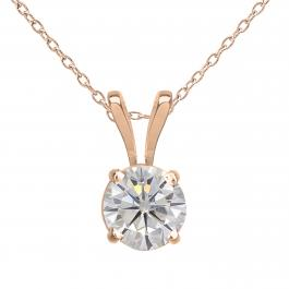 Charles and Colvard Forever Classic 4.5 mm Round Moissanite Solitaire Pendant, 10K Rose Gold