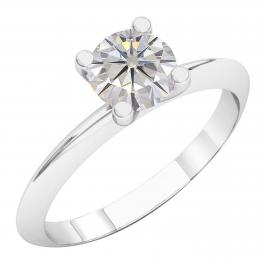 Charles and Colvard Forever Classic 4.5 mm Moissanite Solitaire Engagement Ring, 18K White Gold