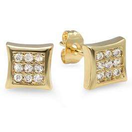 18k Yellow Gold Plated Stud Earrings 7 mm Kite Shaped White Round Cubic Zirconia Pushback Post