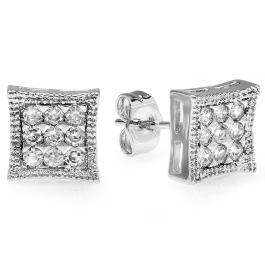 18k White Gold Plated Stud Earrings 8mm Kite Shaped White Round Cubic Zirconia Pushback Post