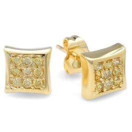 18k Yellow Gold Plated Stud Earrings 7mm Kite Shaped Yellow Round Cubic Zirconia Pushback Post