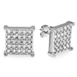 18k White Gold Plated Stud Earrings 11.5mm Ice Cube Shaped White Round Cubic Zirconia Pushback Post