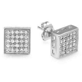 Platinum Plated Stud Earrings 8.5mm Ice Cube Shaped White Round Cubic Zirconia Pushback Post