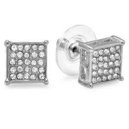 Platinum Plated Stud Earrings 9mm Ice Cube Shaped White Round Cubic Zirconia Pushback Post