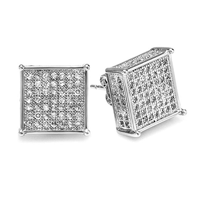 Platinum Plated Clear CZ Cubic Zirconia Cube Shaped Hip Hop Iced Cube Stud Earrings 11.5 mm x11.5 mm )