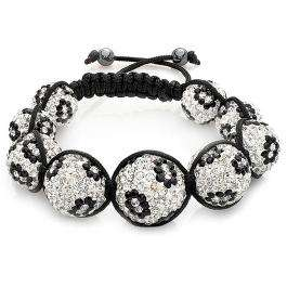 Swarovski Crystal Beaded Bracelet Pave Mens Ladies Unisex Hip Hop Nine Graduating Black and White Disco Ball Bead Adjustable