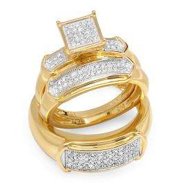 0.45 Carat (ctw) 18K Yellow Gold Plated Sterling Silver Round White Diamond Men & Womens Micro Pave Engagement Ring Trio Bridal Set