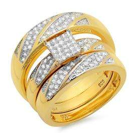 0.36 Carat (ctw) 18K Yellow Gold Plated Sterling Silver Round White Diamond Men & Womens Micro Pave Engagement Ring Trio Bridal Set 1/3 Set