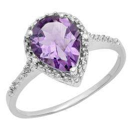 2.00 Carat (ctw) Sterling Silver Round Diamond Pear Shaped Purple Amethyst Ladies Engagement Ring 2 CT