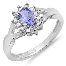 0.50 Carat (ctw) Sterling Silver Round Diamond Oval Blue Tanzanite Ladies Engagement Ring 1/2 CT