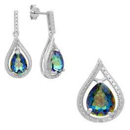 Sterling Silver Pear Cut Rainbow Quartz & Round White Diamond Accent Ladies Tear Drop Dangling Drop Earrings & Pendant Set