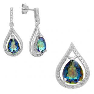 Sterling Silver Pear Cut Rainbow Quartz & Round White Diamond Accent Ladies Tear Drop Dangling Drop Earrings & Pendant Set