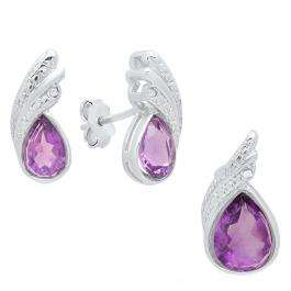 Sterling Silver Pear Cut Amethyst & Round Diamond Accent Ladies Stud Earring & Pendant Set
