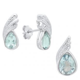 Sterling Silver Pear Cut Blue Topaz & Round Diamond Accent Ladies Stud Earring & Pendant Set