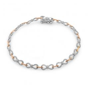0.52 Carat (ctw) 14K Two Tone Gold Round White Diamond Ladies Infinity Bow Style Tennis Link Bracelet 1/2 CT
