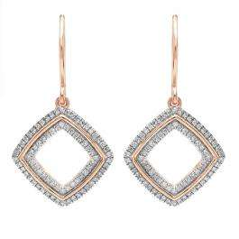 0.25 Carat (ctw) 14K Rose Gold Round Cut White Diamond Ladies Cushion Shape Dangling Drop Earrings 1/4 CT