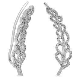 0.26 Carat (ctw) 14K White Gold Round Cut White Diamond Ladies Leaves Ear Cuff Crawler Climber Earrings 1/4 CT