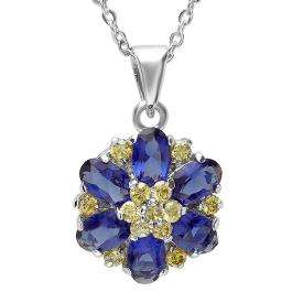 1.75 CT Sterling Silver Ladies Oval & Round Cut Blue & Yellow Sapphire Cubic Zirconia CZ Flower Cluster Pendant 1.00 inch