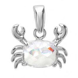 0.75 CT Sterling Silver Ladies Cushion Cut Clear Cubic Zirconia CZ Pendant 0.55 inch