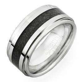 Tungsten Carbide Men's Ring Wedding Band 9MM (3/8 inch) Step Carbon Inlay Comfort Fit (Available in Sizes 8 to 12)