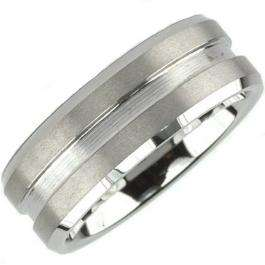8MM High Polish Matte Finish Grooved Tungsten Ring Band