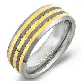 Tungsten Carbide Men's Ring Wedding Band 8MM (5/16 inch) Center Gold Plated Laser Engraved Beveled Edge Brushed 2 lines Comfort Fit (Available in Sizes 8 to 12)
