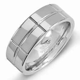 Tungsten Carbide Men's Ring Wedding Band 8MM (5/16 inch) Grooved Polished Shiny Comfort Fit (Available in Sizes 8 to 12)
