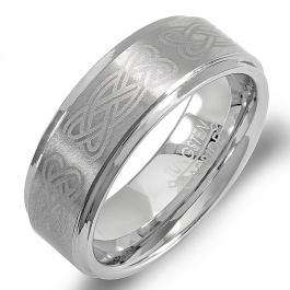 Tungsten Carbide Men's Ring Wedding Band 8MM (5/16 inch) Celtic Ridged Edges Laser Engraved Brushed & Polished Comfort Fit (Available in Sizes 8 to 12)