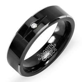 Tungsten Carbide Men's Ladies Unisex Ring Wedding Band 6MM Two Tone Black Plating Solitaire 1 stone CZ Cubic Zirconia Comfort Fit (Available in Sizes 8 to 12)