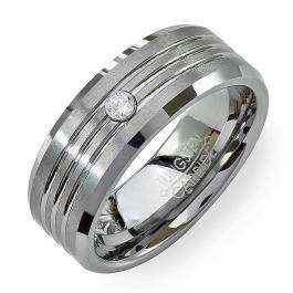 Tungsten Carbide Men's Ladies Unisex Ring Wedding Band 8MM Grooved Brushed Solitaire 0.10 CT CZ Cubic Zirconia Beveled Edges Shiny Comfort Fit (Available in Sizes 8 to 12)