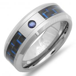 Tungsten Carbide Men's Ring Wedding Band 8MM Beveled Edges Shiny Inlaid W/Carbon Center Stone-Sapphire Diamond Comfort Fit (Available in Sizes 8 to 12)