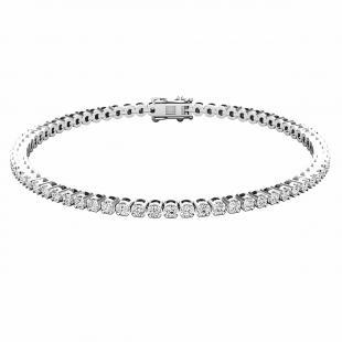 IGI CERTIFIED 2.00 Carat (ctw) Platinum Round Cut White Diamond Ladies Tennis Bracelet 2 CT