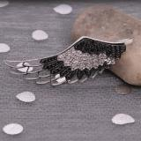 0.33 Carat (ctw) Sterling Silver Black and White Diamond Angel Wing Pendant (1/3 cttw)