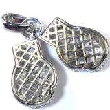 CZ Diamonds Platinum Look Hip Hop Mens Cubic Zirconia Fighting Gloves Pendant