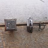 0.15 Carat (ctw) 14K Black Rhodium Plated White Gold Black Real Diamond Kite Shape Mens Hip Hop Iced Stud Earrings