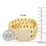 12.50 Carat (ctw) Round White Diamond Men's Curb Chain Bracelet, 14K Yellow Gold