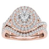 1.50 Carat (ctw) Round Cubic Zirconia CZ Wedding Bridal Engagement Ring Set 1 1/2 CT, 10K Rose Gold