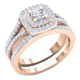 1.50 Carat (ctw) 18K Rose Gold Round Lab Grown Diamond Ladies Halo Engagement Ring Set 1 1/2 CT