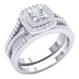 1.50 Carat (ctw) 18K White Gold Round Lab Grown Diamond Ladies Halo Engagement Ring Set 1 1/2 CT