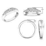 0.50 Carat (ctw) 10K White Gold Round Lab Grown White Diamond Men's Wedding Stackable Band 1/2 CT