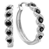 0.86 Carat (ctw) Sterling Silver Black and White Round Diamond Ladies Hoop Earrings