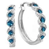 0.86 Carat (ctw) Sterling Silver Blue and White Round Diamond Ladies Hoop Earrings